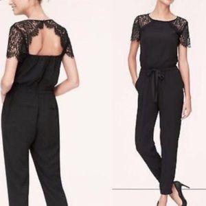 Loft black lace jumpsuit Sz 2